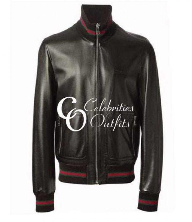 19a7c75a3 James Franco Gucci Black Bomber Replica Leather Jacket