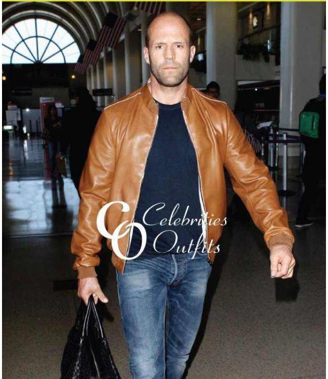 jason-statham-brown-bomber-leather-jacket