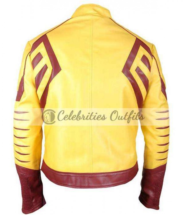 2d34a3d39 Kid Flash Wally West Flash Season 3 Yellow Leather Jacket
