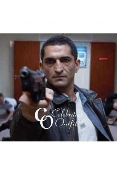 Amr Waked Lucy Movie Black Police Leather Jacket