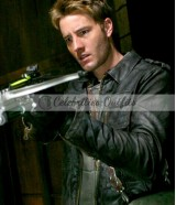 Justin Hartley Smallville Prophecy Black Leather Jacket