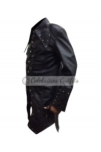Men's Steampunk Gothic Halloween Trench Leather Coat Jacket