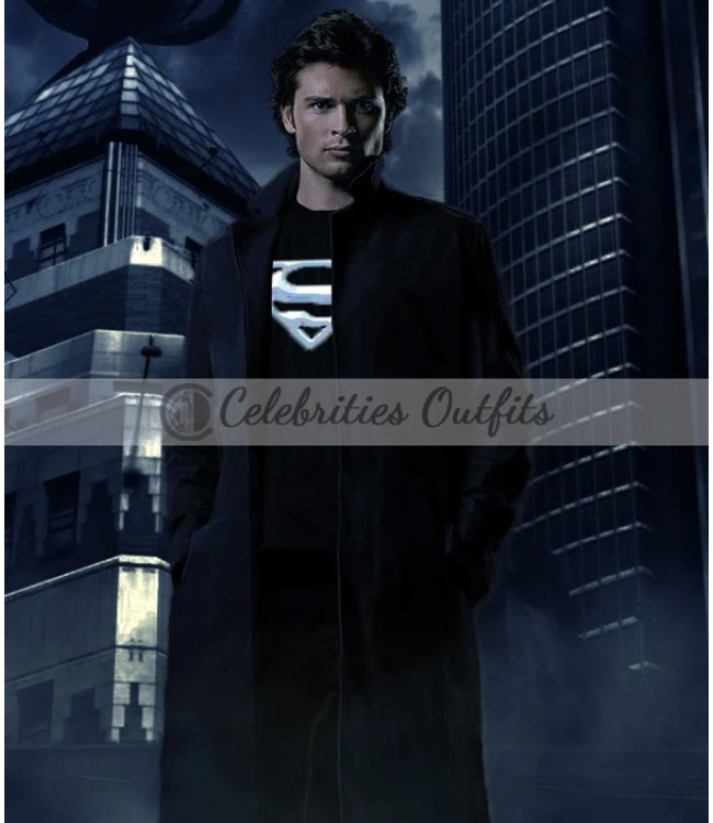 ea0ed1756 Smallville Superman Tom Welling Black Leather Coat