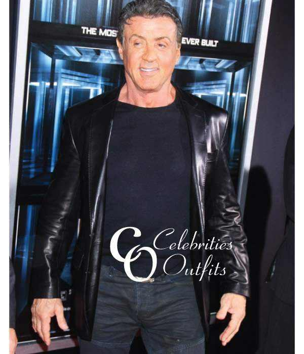Escape Plan Premiere Sylvester Stallone Black Leather Jacket