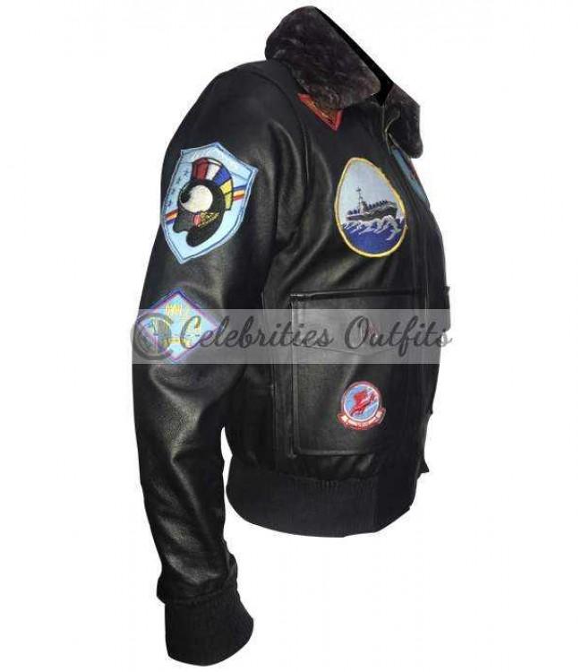 1ce2786f2f5 Tom Cruise Maverick Top Gun Flight Shearling Bomber Jacket