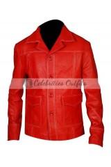 Fight Club Brad Pitt Red Replica Leather Jacket