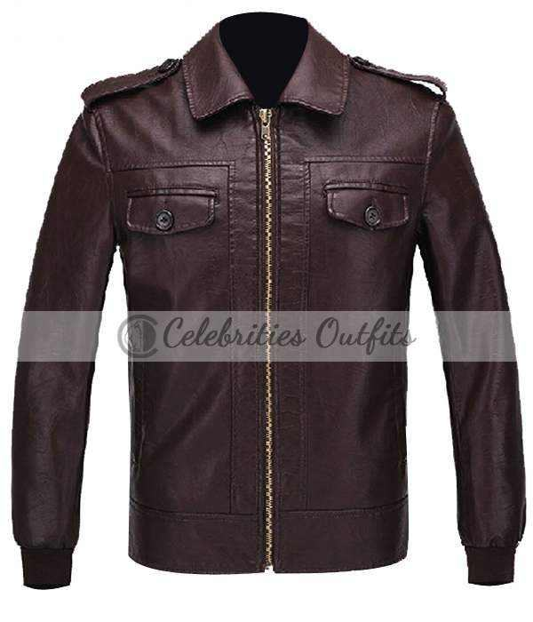 Avengers Chris Evans Steve Brown Leather Jacket