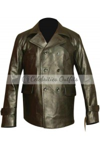 Doctor Who Christopher Eccleston Black Leather Coat Jacket