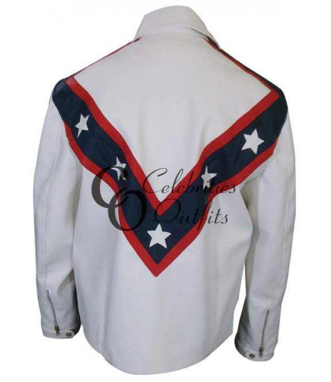 8783e2a63 Stylish Evel Knievel White Biker Leather Jacket