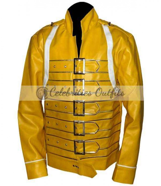Rock Band Queen Singer Freddie Mercury White Jacket PU Leather