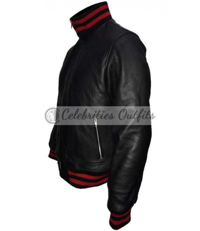 f25b8aff4f5 James Franco Gucci Black Bomber Replica Leather Jacket