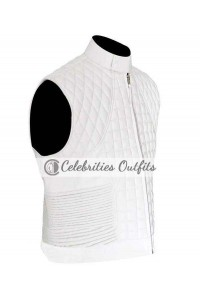 Justin Bieber White Quilted Leather Vest Jacket