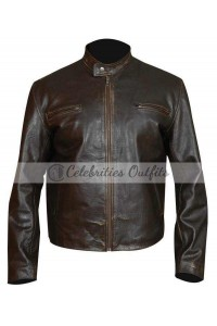 Contraband Mark Wahlberg Brown Distressed Leather Jacket