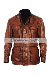 Four Brother Mark Wahlberg Brown Leather Jacket Coat