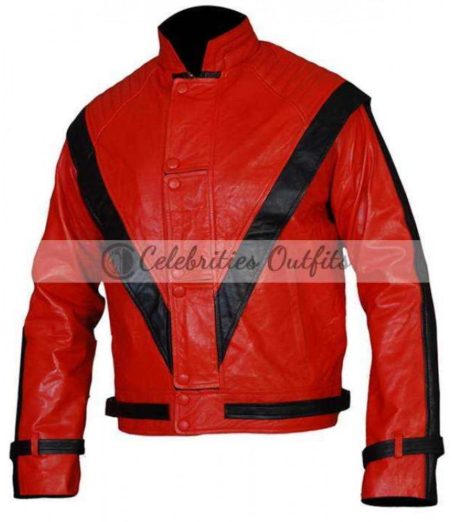 red and black michael jackson thriller replica leather jacket