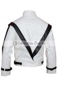 Michael Jackson Thriller White Leather Jacket