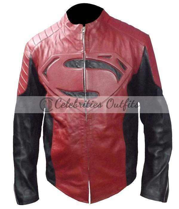 Smallville Black Red Superman Designer Leather Jacket
