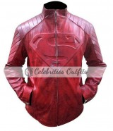 Superman Smallville Clark Kent Red Distressed Leather Jacket