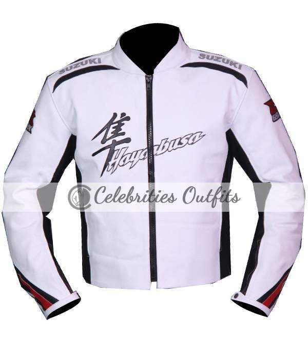 Suzuki Hayabusa White Motorcycle Rider Leather Jacket