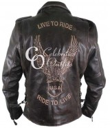 Live To Ride Male Black Motorcycle Leather Jacket