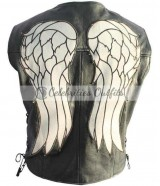 Daryl Dixon Walking Dead Black Leather Vest Jacket