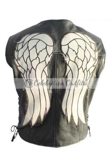 Daryl Dixon Walking Dead Black Leather Vest Jacket