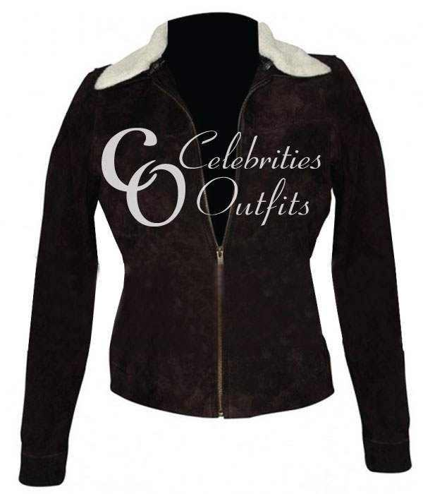 Walking Dead Rick Grimes Ladies Fur Leather Jacket
