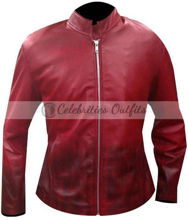 Elizabeth Olsen Avengers Age Of Ultron Scarlet Witch Red Jacket