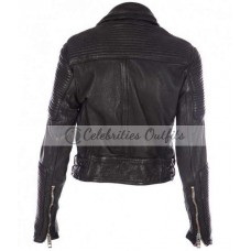 Ali Larter Black Burberry Prorsum Quilted Leather Jacket