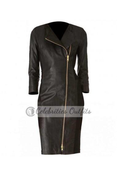 Ashley Roberts Black Trench Leather Coat Jacket