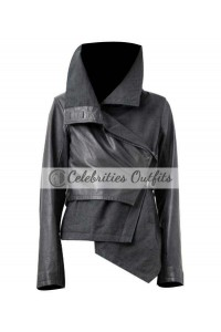 Hunger Games Jennifer Lawrence Katniss Black Leather Jacket
