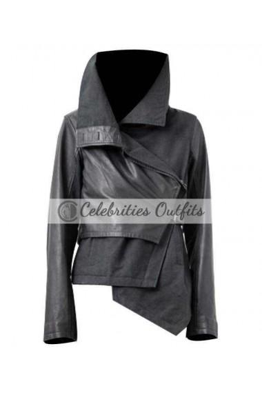 Hunger Games Jennifer Lawrence Katniss Black Leather Jacket