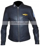 Top Gun Kelly McGillis Black Pilot Leather Jacket