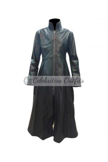 Trinity Matrix Reloaded Black Trench Leather Coat Costume
