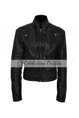 Lily Collins Mortal Instruments Black Leather Jacket