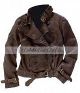 Captain America 2 Scarlett Johansson Brown Leather Jacket