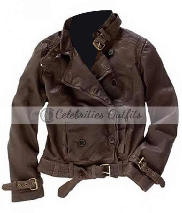 Captain America 2 Scarlett Johansson Brown Leather Jacket