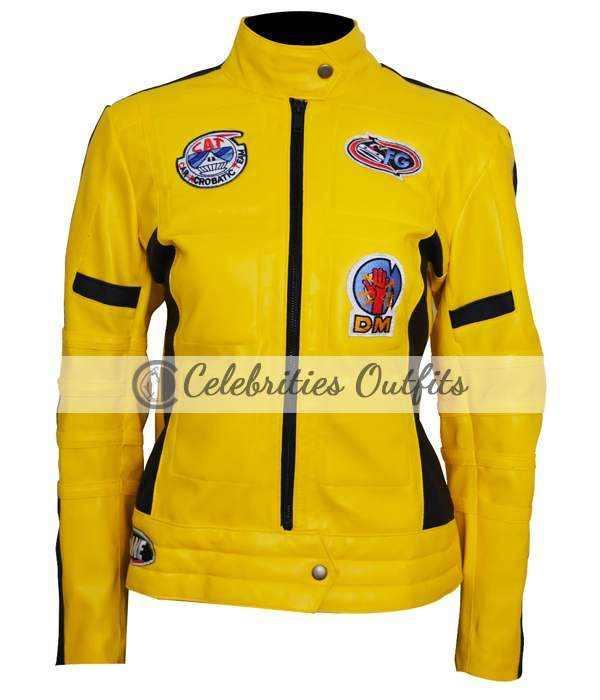 Kill Bill Uma Thurman Yellow Motorcycle Leather Jacket