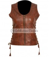 Danai Gurira Walking Dead Michonne Brown Leather Vest