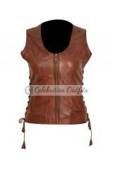 Danai Gurira Walking Dead Michonne Brown Leather Vest