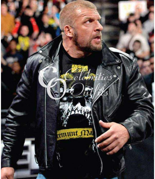 the sale of shoes best dirt cheap WWE Triple H Black Motorcycle Real Leather Jacket